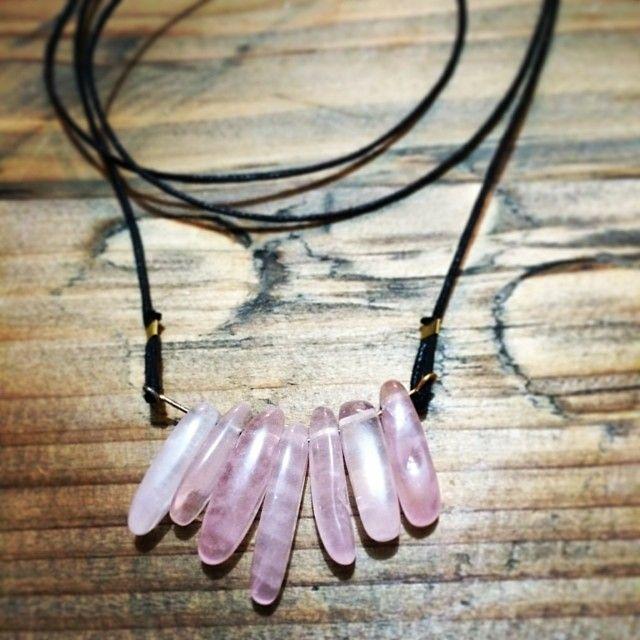"@Somsri's photo: ""Rose quartz necklace on long leather cord."" #jewellery #handmade #jewelry #necklace #crystals #somsri #gemstone #rosequartz #quartz #pink"