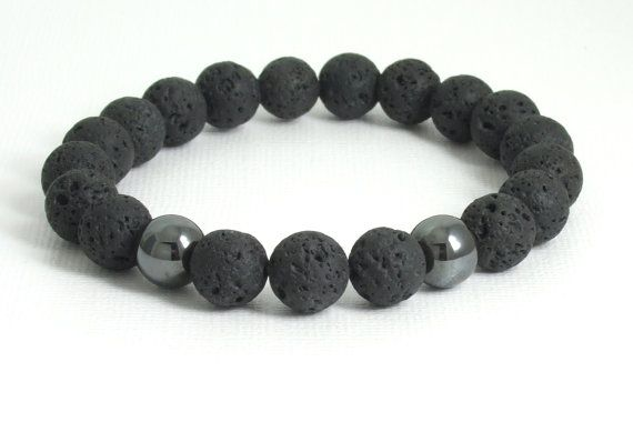 Lava Rock / Stone and Hematite Round Bead by the3bartzdesigns