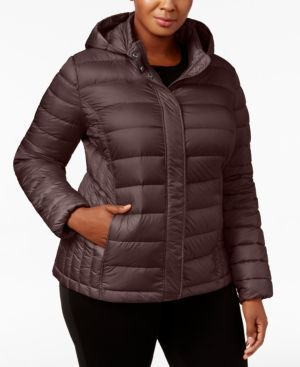 32 Degrees Plus Size Packable Puffer Coat - Red 2X