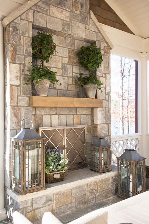 Fireplace ~ stone with natural wood mantel - 17 Best Ideas About Stone Fireplace Mantel On Pinterest Stone