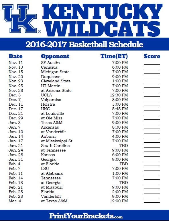 photo regarding Uk Basketball Printable Schedule identified as Kentucky Wildcats 2016-2017 Higher education Basketball Agenda