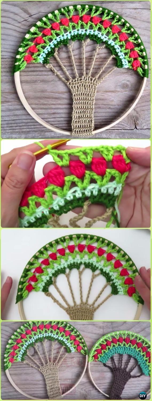 Árbol de ganchillo de la vida Catcher del sueño Vídeo libre del patrón - Crochet Dream Catcher Free Patterns
