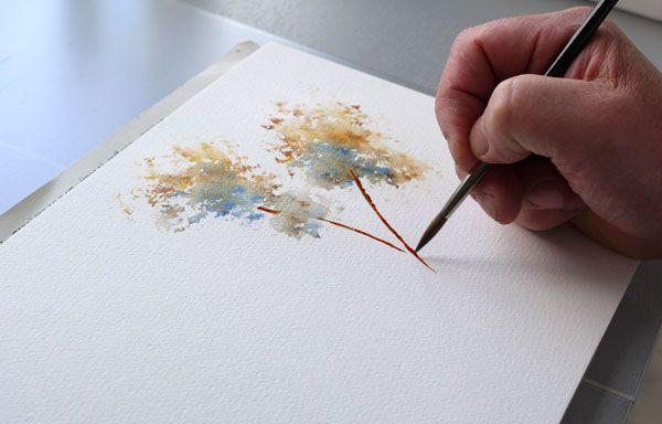 Deuxieme Tronc Arbre Arbre Peinture A L Eponge Peinture A L