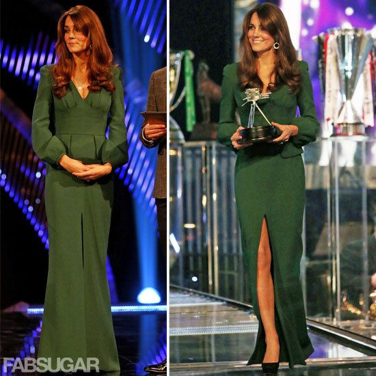 Kate Middleton is perfect in a green Alexander McQueen dress source: @FabSugar
