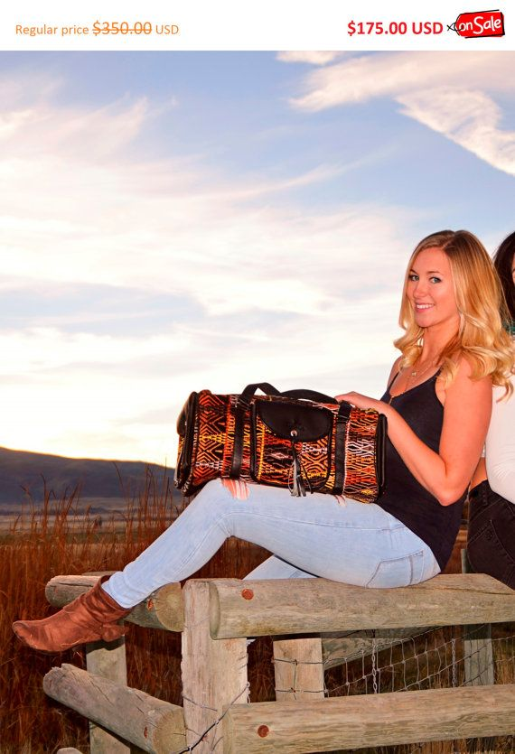 Leather Duffel bag Embroidered duffel Chevron by IKALAoutfitter