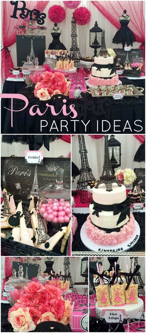 What a gorgeous pink and black Paris birthday party! See more party ideas at CatchMyParty.com!