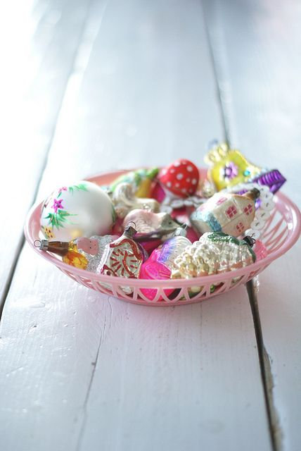 Vintage ornaments in a pretty basket