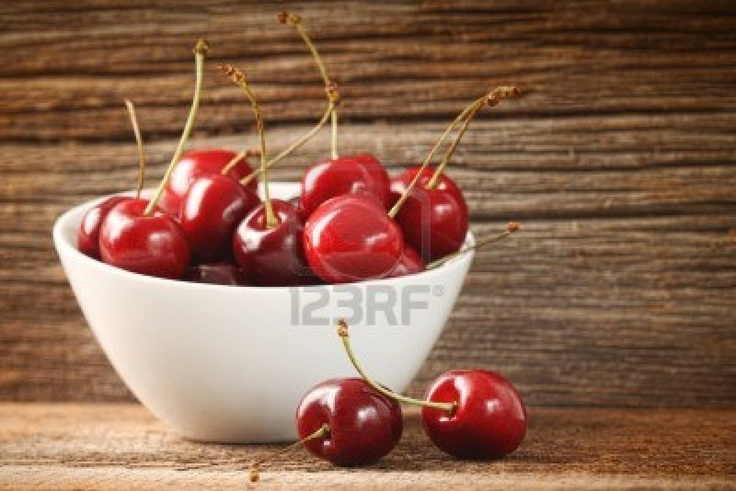 Red cherries in bowl on but in turquoise for my kitchen
