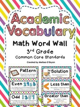 This bright rainbow colored set of Common Core math academic vocabulary word wall cards is perfect for display in a 3rd grade classroom. This word wall set was created based on the 3rd grade Common Core Math State Standards. Includes 82 word wall cards. Each card contains the academic vocabulary word, its definition or example, and most contain a graphic. $ #wildaboutfifthgrade