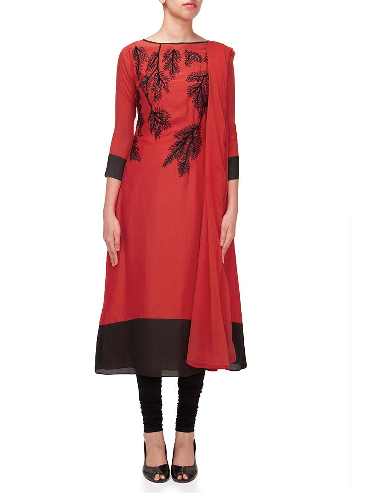 Beautiful Coral Red Muslin Cotton Straight Suit