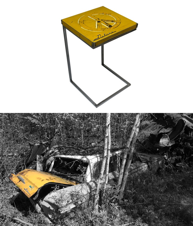 Metal Table Made From A Recycled 1961 AMC Rambler Deluxe By Oxyd Factory  Who Transforms Car Body Parts Into Industrial Furniture.