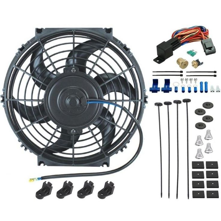 "10"" Inch Electric Engine Puller Pusher Fan Radiator Thermostat Kit"