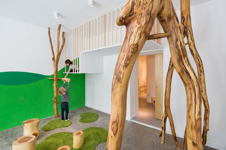 Baukind- Kita Drachenhöhle - Baukind has converted a salt sauna into a kindergarten in Berlin. Kita Drachenhöhle, or 'dragons cave', brings the outdoors in with a nature-inspired interior. The design incorporates the needs of the children, while demostrating clear visual language that helps to structure their daily routine.