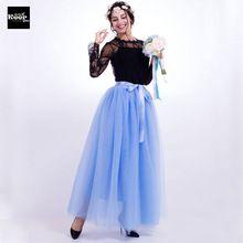 Yaz Etek 7 Katmanlar 100 cm Tül Maxi Uzun Etek Amerikan Giyim Lolita Tutu Etekler Bayan Elastik Petticoat faldas saia jupe(China (Mainland))