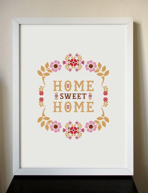 Home Sweet Home giclee art print 12x16 by onelittlebirdstudio