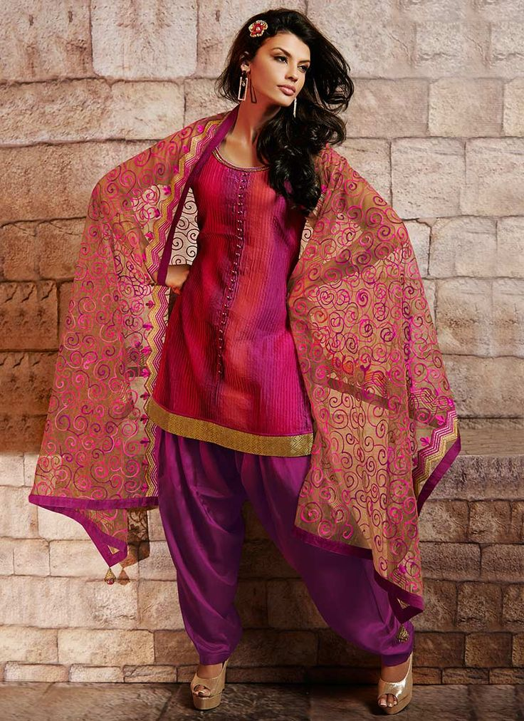 Peppy Art Silk #Patiala Suit, pink and purple patiala suit with pink embriodery on chuni