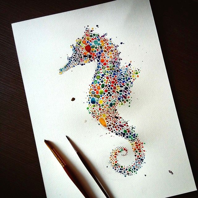 Caballito de mar puntillismo | tatoos | Drawings, Art, Animal drawings