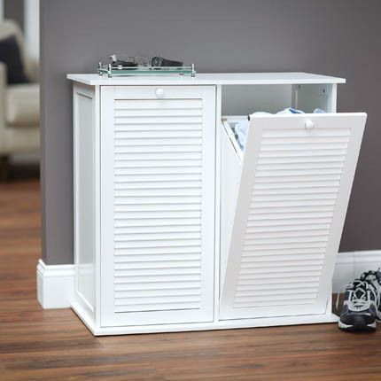 Tilt-out Laundry Sorter Cabinet with Shutter Front
