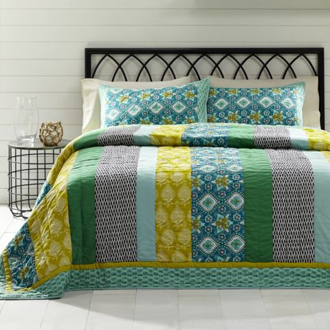 """The Addison Twin Quilt by VHC Brands features vertical stripes in cool blends of blue and green surrounded with blue border with contrast thread hand quilting. Perfect for your country primitive home or cabin decor, to bring a colorful, casual, and elegant look. Trimmed with solid light blue binding and reverses to solid light blue fabric.  The Quilt comes with 2 Shams measured at 21"""" x 37""""."""