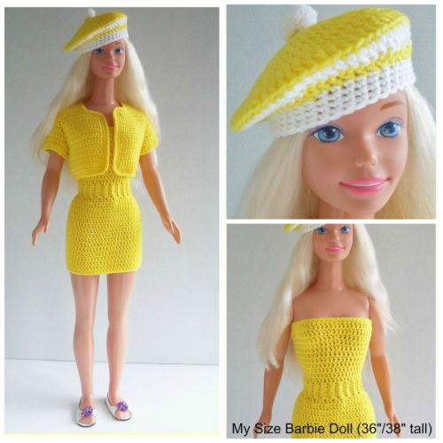 """Check out my blog! https://marilynsmenagerie11.wordpress.com/... Custom Doll Crochet Designs By Marilyn, love to design clothing for My Size Barbie Doll (36""""/38"""" tall), This outfit is a one-piece, slip-on dress, jacket and beret hat."""