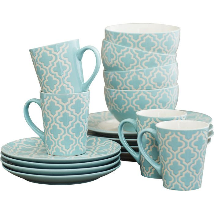 The Red Barrel Studio 16 Piece Dinnerware Set features a captivating design that complements a contemporary style decor. It features a uniformly repeating pattern in teal set on a classic white background. Skilled artisans make full use of good quality clay to craft a dinner set that lasts for many years. You can heat the delicacies you place in the plates in a microwave oven. This dinner set comprises dinner plates, salad plates, mugs, and soup bowls. This dinner set does not require…