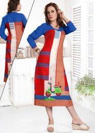 Casual Wear Red Rayon Printed Kurti
