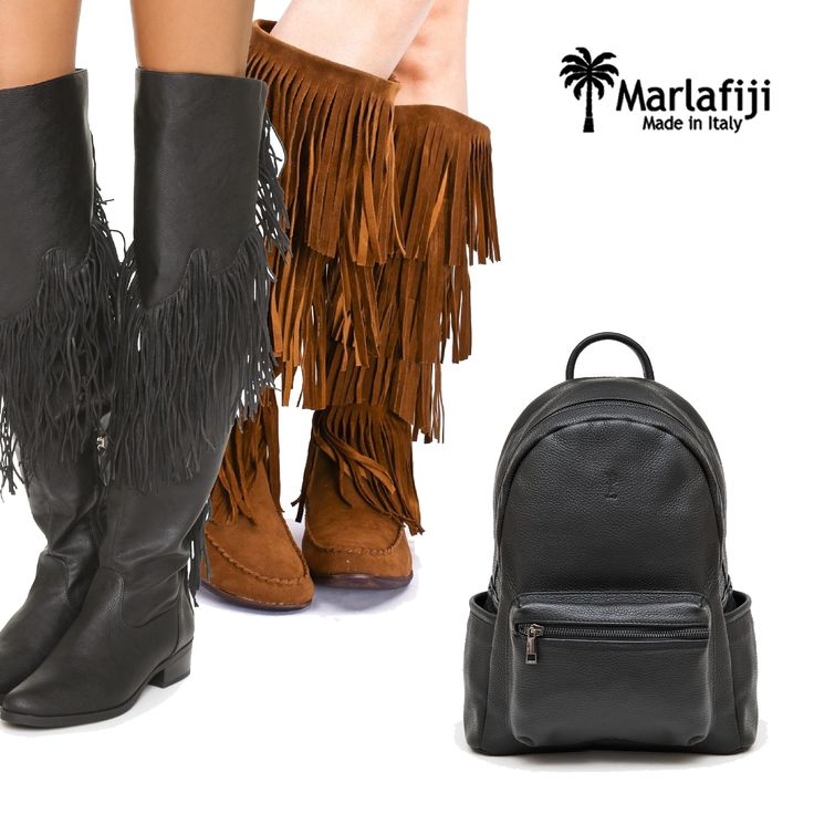Fringe Boots are the perfect match for the cooler season with Stevie Italian leather backpack... Warm up ladies! heart emoticon Grab it here: marlafiji.com/…/stevie-black-italian-italian-leather-unisex… FREE SHIPPING within Australia #marlafiji #italianleatherbag #steviebackpack #coolseason