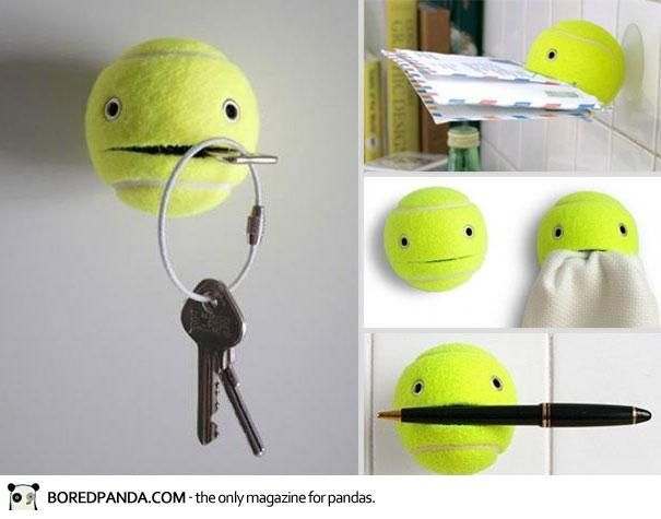 This website has some creative DIYs that are pretty awesome! I love the tennis ball idea, it could hold my ID badge for school maybe.....