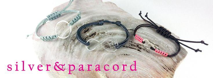 silver & paracord ayarlanabilir bileklik