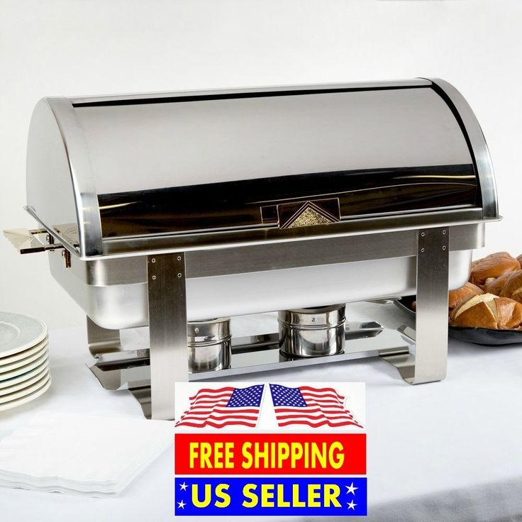 Backyard wedding/ Rustic wedding/ DIY wedding catering/ Backyard wedding food/ Roll Top Deluxe Full Size 8 Qt. Stainless Steel Buffet Chafer Chafing Dish Set #ChoiceChafingDishes
