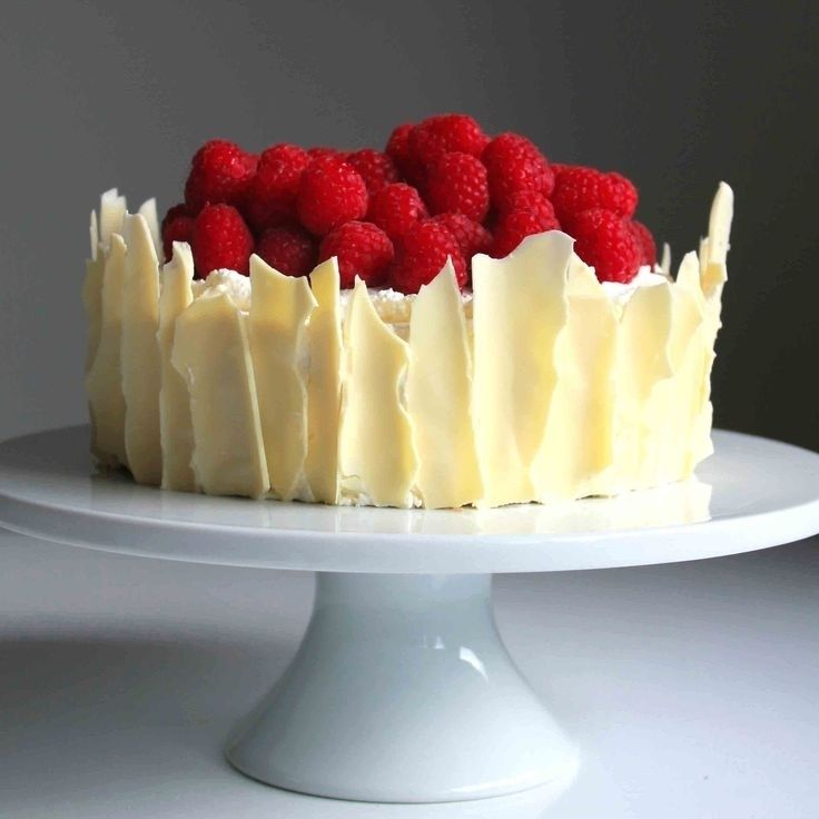 Lemon Raspberry Sponge Cake with White Chocolate Shards (Message from BigOven)