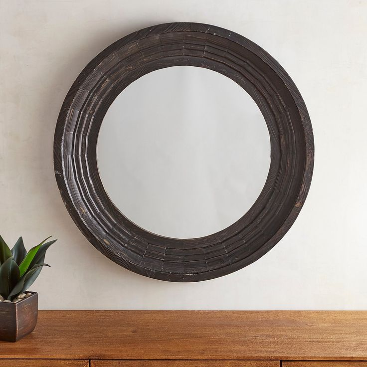 Bailey Farmhouse Black Round Mirror