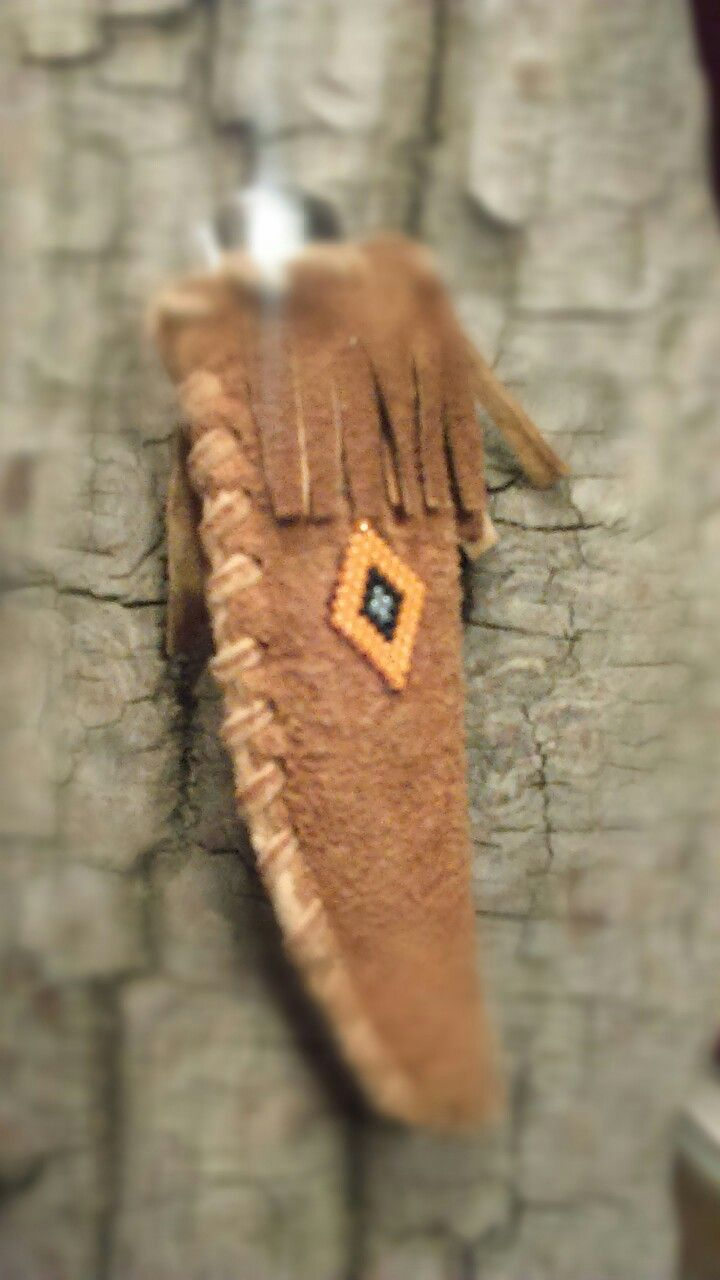 Moose hide knife case with Traditional Dene bead design
