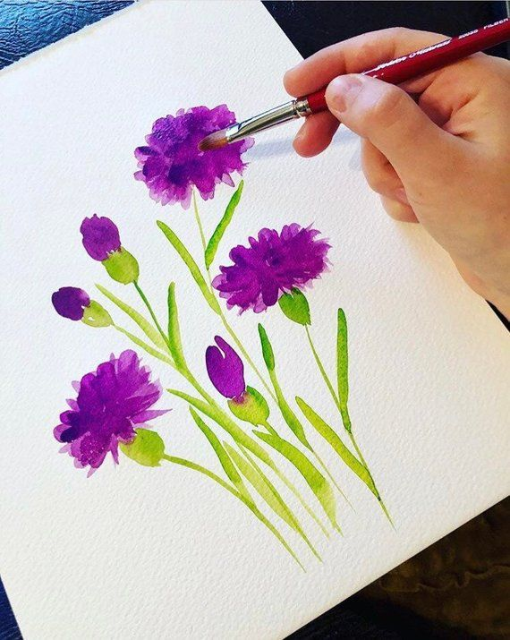 Purple Carnation Flowers Wall Art Purple Watercolor Art Etsy