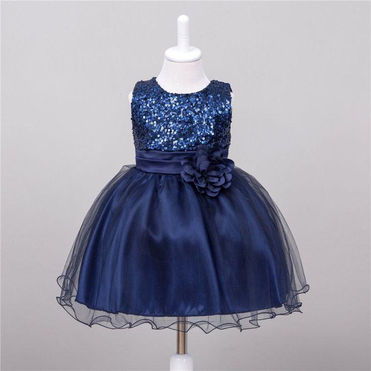Summer Baby Dresses Girls Sequin Flower Bowknot Birthday Wedding Party Tutu Dress  2017 Girl Vestido S1 LE3