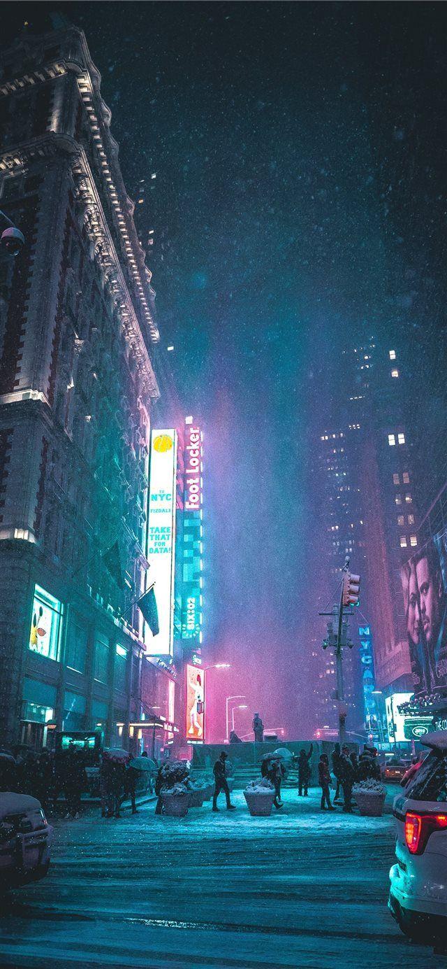 New York United States Iphone X Wallpaper City Light Neon