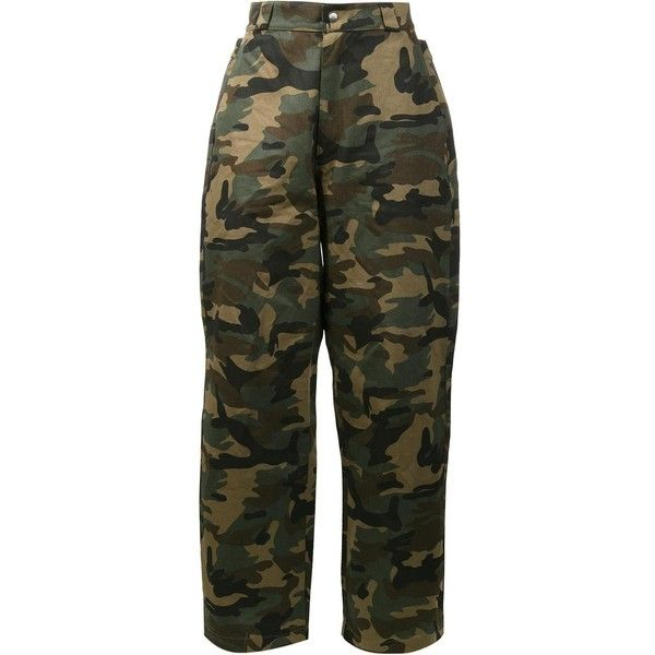 Hood By Air Camouflage Print Trousers ($180) ❤ liked on Polyvore featuring men's fashion, men's clothing, men's pants, men's casual pants, pants, bottoms, green, mens camo pants, mens green pants and mens cotton pants