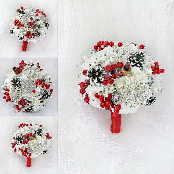 Зима Брошь Букет Зимние свадебный букет букет Красный Брошь Свадебные зимние морозные Шишки ягоды Рождество Свадьба Снежинка Букет
