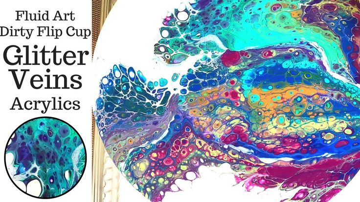 How To Apply GLITTER VEINING to Fluid Art FLIP CUP DIRTY SLIDE acrylic p...