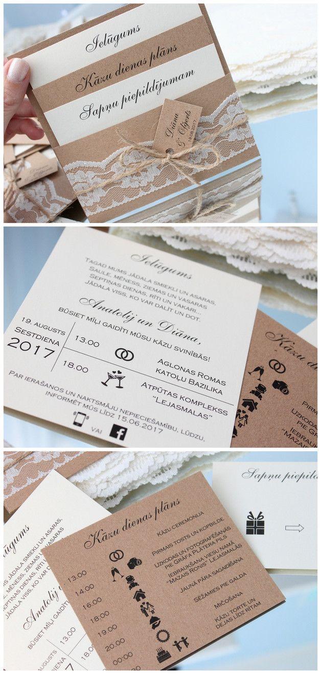 5 Stück Rustikal Hochzeitseinladungen Mit Spitze. Hochzeitseinladungen  Hochzeitseinladung Einladungskarte Einladung Zur Hochzeit ...