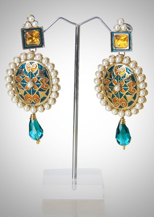Minakari earrings with pearl and stone droplet