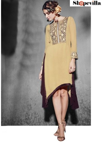 Tiptop Beige Georgette Party Wear Kurti-8008