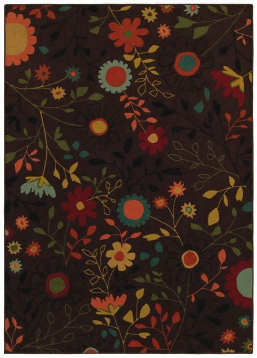 Young Attitudes Garden Girl Milk Chocolate Flowers Kids Rug   Kathy Ireland  By Shaw | Rugs