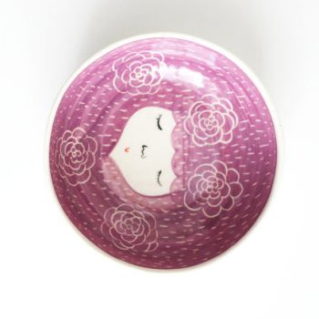 MArinski bowls with character purple with flowers
