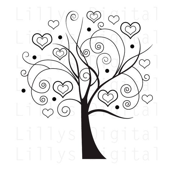 Tree Clipart CHIC TREE 2 digital stamp image by LillysDigiGarden, $2.00