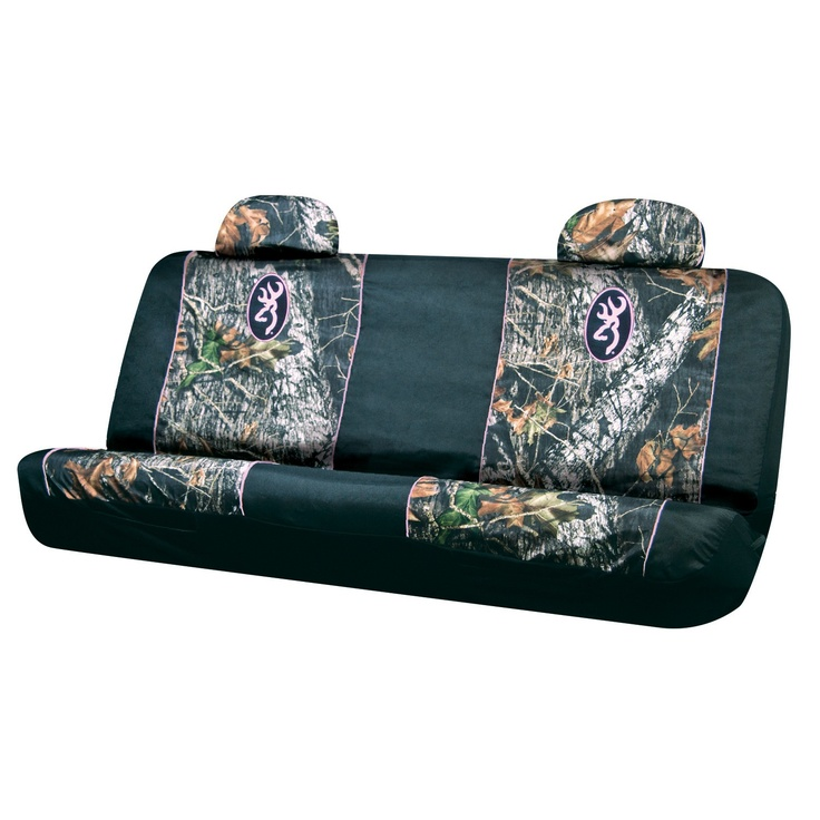 Browning Arms Company Buckmark Pink Logo Infinity Camo Car Truck SUV Universal Fit Rear Bench Seat Cover With Head Rest Covers