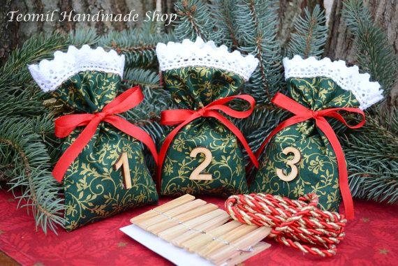 Christmas Advent Calendar, Advent Calendar Bag, Countdown till Christmas, Christmas Decor, Advent Bags, Christmas Garland