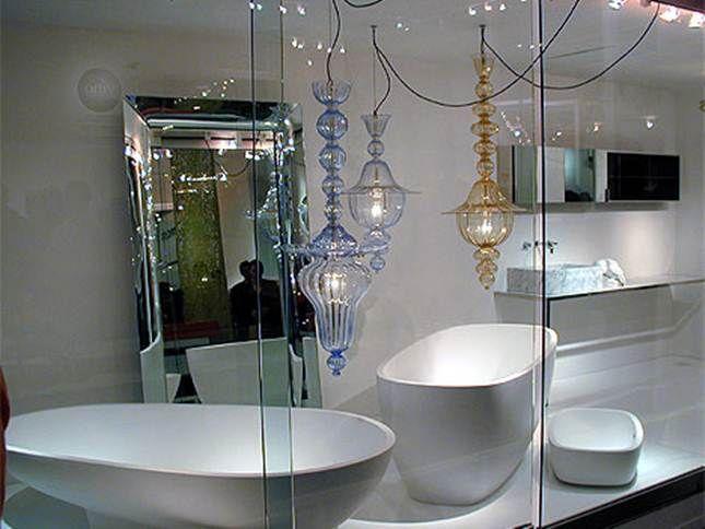 bathroom display with lights