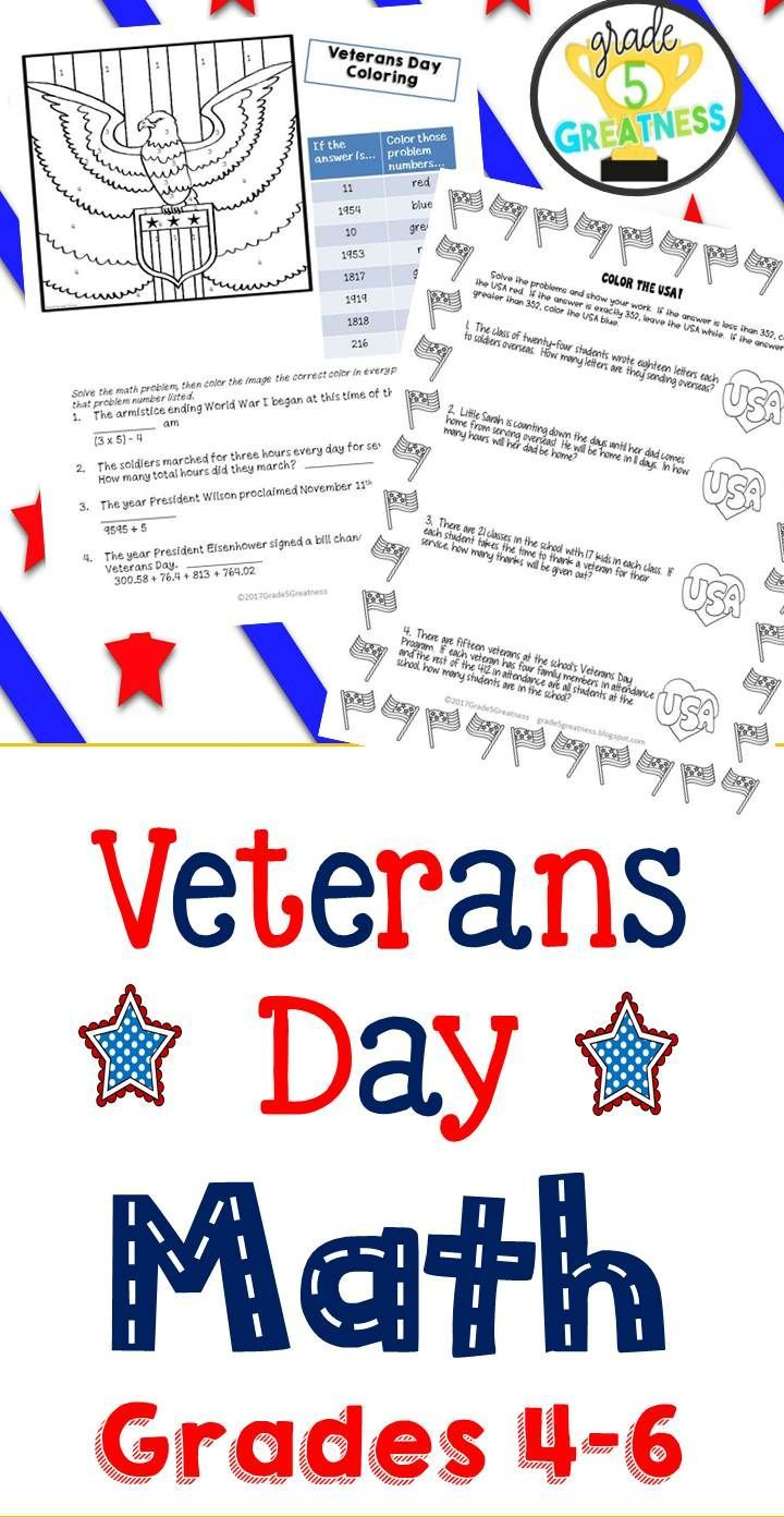 Veterans Day Math Activities   Math worksheets [ 1392 x 720 Pixel ]