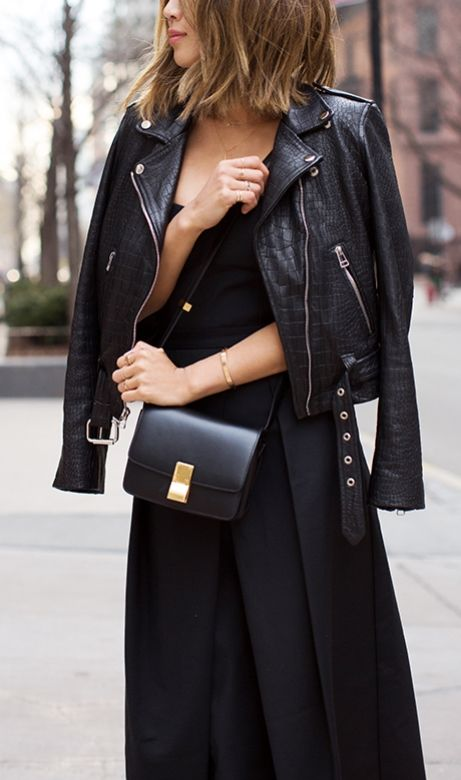 Leather Jacket, Black Dress & little black bag.